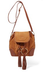 See By Chloe Polly Taseled Leather Trimmed Suede Shoulder Bag Tan