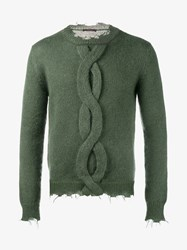 Etro Mohair Blend Frayed Cable Knit Sweater Green