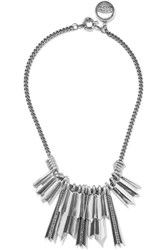 Giles And Brother Silver Plated Crystal Necklace Metallic