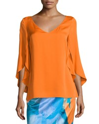Milly Butterfly Sleeve V Neck Blouse Orange