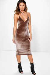 Boohoo Velvet Strappy Slip Dress Brown