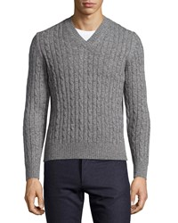 Luciano Barbera Cashmere Cable Knit V Neck Sweater Gray