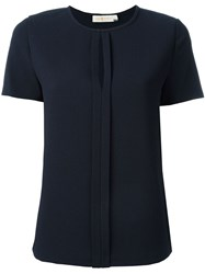 Tory Burch Keyhole Collar T Shirt Blue