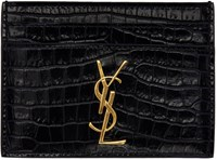 Saint Laurent Navy Croc Embossed Monogram Card Holder