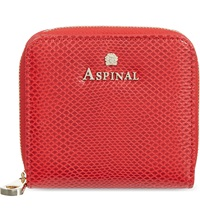 Aspinal Of London Mini Continental Lizard Embossed Leather Coin Purse Berry