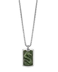 John Hardy Sterling Silver Legends Naga Large Dog Tag Necklace With Nephrite Jade 26 Green Silver