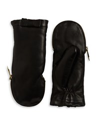 Kate Spade Faux Fur Lined Leather Mittens Black