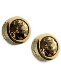 T Tahari Earrings Gold Tone Colorado Crystal Stud Earrings