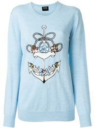 Markus Lupfer Sequinned Anchor Sweater Blue