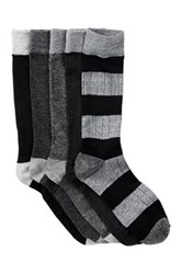 Lucky Brand Die Cut Pull Out Crew Cut Socks Pack Of 5 Black