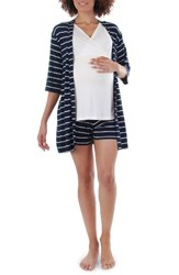 Everly Grey Women's 'Daphne During And After' 5 Piece Maternity Sleepwear Set Navy