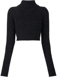 Balmain Cropped Turtleneck Sweater Black
