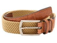 Torino Leather Co. 32Mm Italian Woven Multi Cotton Elastic Khaki Men's Belts