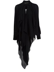 Plein Sud Jeans Long Asymmetric Hem Blouse Black