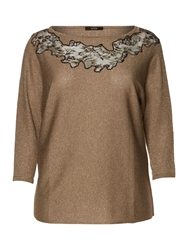 Persona Anna Lace Detail Knitted Sparkle Sweater Gold