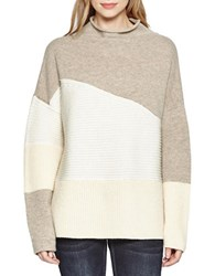 French Connection Patchwork Tonal Knitted Sweater Grey Melange