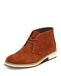 French Connection Corian Suede Oxford W Colorblock Heel Dark Cognac