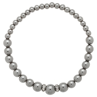 Finesse Pearl And Crystal Rondel Bracelet Grey