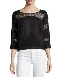 Neiman Marcus Linen Crochet Panels Boxy Crop Top Black