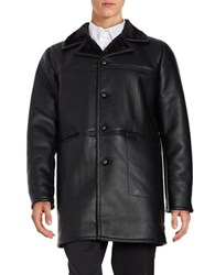 Karl Lagerfeld Shepa Lined Leatherette Car Coat Black