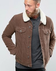Asos Cord Western Jacket With Borg Collar In Brown Brown