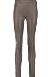 Iris And Ink Leigh Stretch Leather Leggings Gray