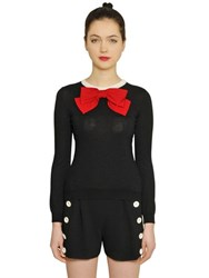 Boutique Moschino Wool Knit Sweater With Bow