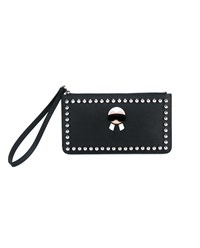 Fendi Leather And Mink Fur Karlito Wristlet Pouch Black Silver Mink