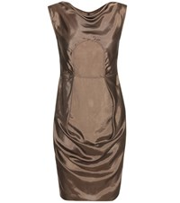 Rick Owens Ruched Satin Mini Dress Brown