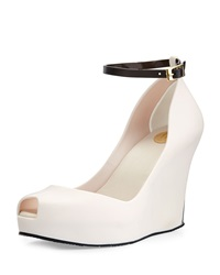 Melissa Shoes Patchouli Peep Toe Jelly Wedge Beige