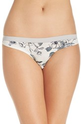 Chelsea 28 Women's Chelsea28 Low Rise Thong Ivory Egret Botanical Floral