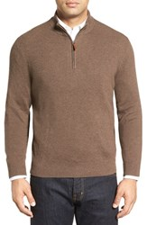 Nordstrom Men's Big And Tall Men's Shop Cotton And Cashmere Rib Knit Sweater Brown Bean Heather