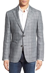 Men's Nordstrom Men's Shop Classic Fit Windowpane Linen Sport Coat