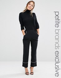 Alter Petite Cropped Pyjama Trouser With Contrast Piping Black