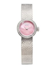 Christian Dior La D De Diamond Pink Mother Of Pearl And Stainless Steel Bracelet Watch