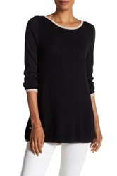 Cullen Multi Stitch Curved Zip Back Sweater Black