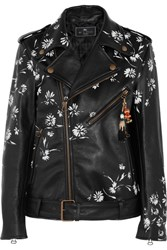 Etro Embellished Printed Leather Biker Jacket Black