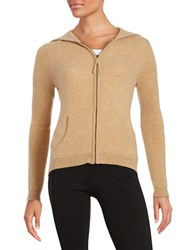 Lord And Taylor Hooded Zip Up Cashmere Sweater Classic Brown Heather