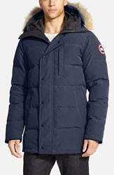 Men's Canada Goose 'Carson' Slim Fit Hooded Packable Parka With Genuine Coyote Fur Trim Navy
