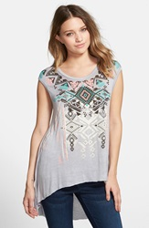 Living Doll 'Necklace' Graphic High Low Tee Juniors Grey Neon