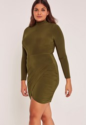 Missguided Green Plus Size High Neck Slinky Wrap Mini Dress Olive
