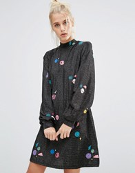 Lazy Oaf High Neck Swing Dress In Sparkly Space Black