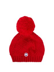 Canada Goose Pompom Embellished Wool Beanie Hat Red