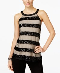 Inc International Concepts Sequin Stripe Halter Top Only At Macy's Deep Black