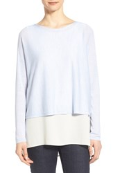 Women's Eileen Fisher Merino Knit Crop Long Sleeve Sweater Delfina