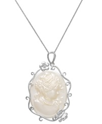 Macy's Sterling Silver Necklace Mother Of Pearl Cameo Pendant 45Mm X 30Mm