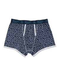 Penguin Logo Print Trunks Navy White