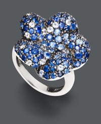 Effy Collection Balissima By Effy Sapphire Flower Ring 4 1 4 Ct. T.W. In Sterling Silver