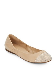 Saks Fifth Avenue Cacey Leather Sparkle Cap Toe Flats