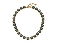 Tory Burch Stone Short Necklace Smoke Vintage Gold Necklace Green